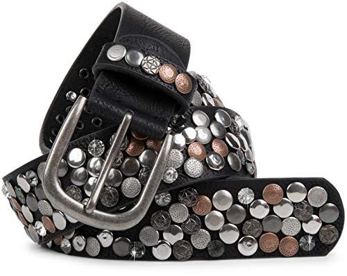 styleBREAKER cinturón de remaches en diseño vintage, diferentes remaches y estrás, reducible, señora 03010051, color:Negro/Cobre, tamaño:85cm