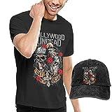 LisaJYancey Hollywood Undead T Shirt Men's Short Sleeve Shirt Baseball Cowboy Hat Set XXL Black
