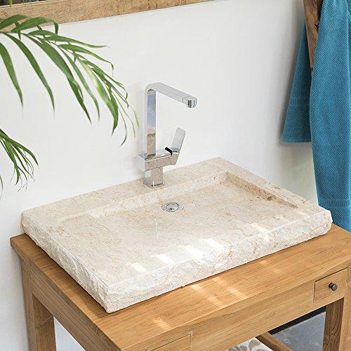 wohnfreuden Marmor Waschbecken Kotak 70 cm in Creme eckig mit Armaturenloch