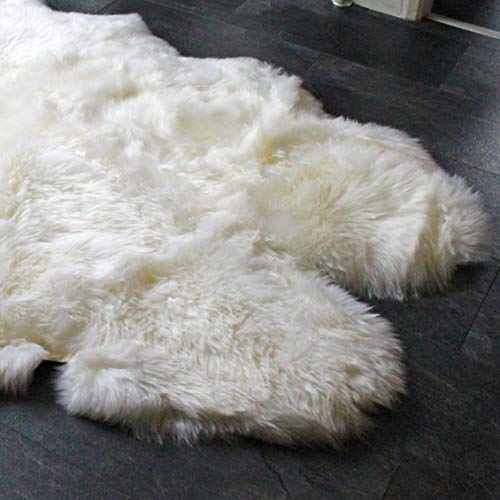 Outlavish Sheepskin Rug Genuine Soft Natural Merino (3.6' x 6', White/Ivory)