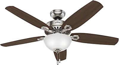 """HUNTER 53090 Builder Deluxe Indoor Ceiling Fan with LED Light and Pull Chain Control, 52"""", Brushed Nickel"""