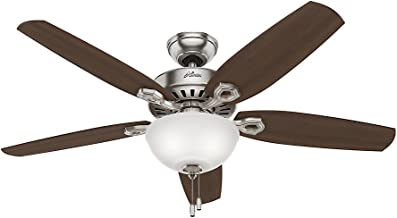 Hunter Indoor Ceiling Fan with light and pull chain control - Builder Deluxe 52 inch, Brushed Nickel, 53090