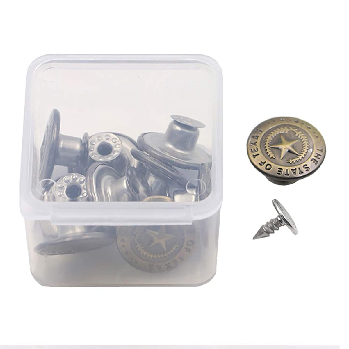 Replacement Buttons Fastener for Jeans - 10 Sets Metal Tack Buttons in a Storage Box - Diameter 17MM(0.67 Inch) (Bronze)