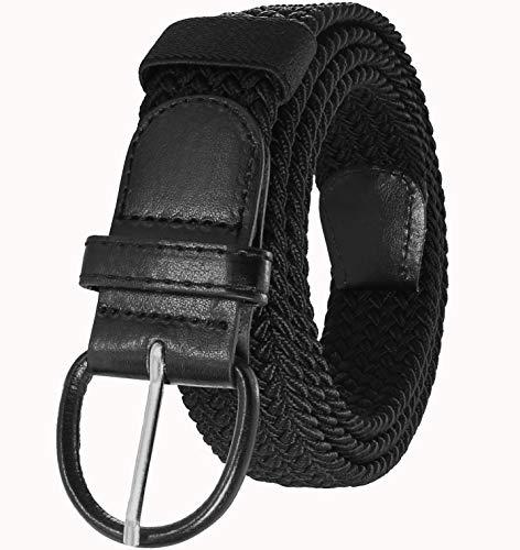 JINIU Men's Braided Weave Adjustable Elastic Stretch Belts Black Color 35mm(b4)