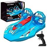 EXTSUD Mini Barco Teledirigido, Mini Aerodeslizador Multifuncional 2 en 1 Modo Terrestre y Acuático, Aerodeslizador Teledirigido Barco RC Juguete para Niños