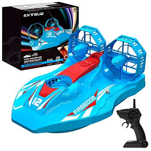 EXTSUD Barca Telecomandata Giochi per Bambini Adulti 2.4G Giocattolo Hovercraft Veicolo Elettrico 2 in 1 Mini Auto Telecomandata ad Alta Velocità Barca da Corsa Gioco per Piscine Laghi Acqua Terra
