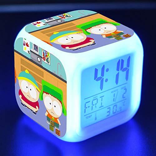 shiyueNB kinderwekker LED-licht 7 kleurverandering LCD-display reloj tafel vierkant tafel digitaal