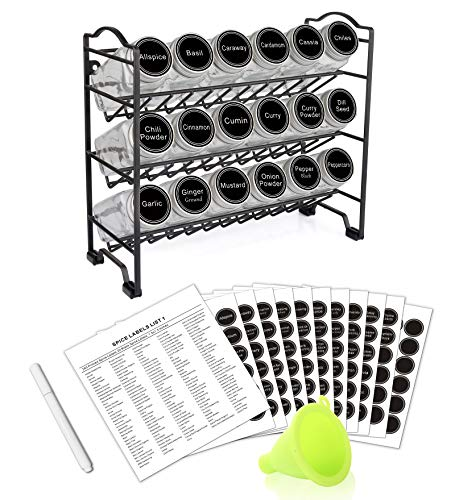 SWOMMOLY Spice Rack with 18 Empty Square Spice Jars, 396 Spice Labels with Chalk Marker and Funnel Complete Set, for Countertop, Cabinet or Wall Mount