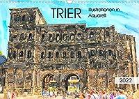 Trier - Illustrationen in Aquarell (Wandkalender 2022 DIN A3 quer): Malerische Stadtansichten von Trier (Monatskalender, 14 Seiten )