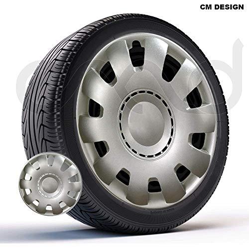 CM DESIGN 4 x 15 Zoll Venus Nylon Lux Silber Auto-Radkappen Radzierblenden
