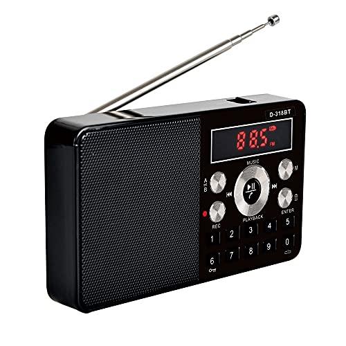 FM Radio estéreo Mini multifunción Receptor de radio portátil Soporte Llamadas telefónicas inalámbricas A-b Bluetooth Radio (negro)