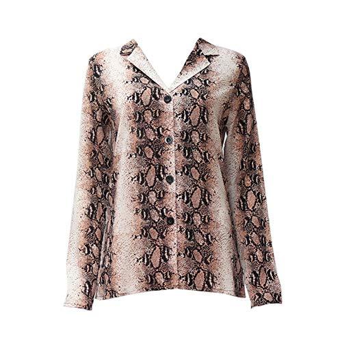 Ardorlove Blouses Fashion Lange Mouw Shirt Vintage Snake Print Casual Losse V-hals Lapel Herfst Shirt voor Vrouwen