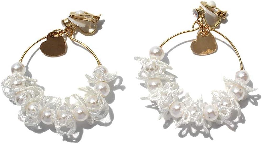 HAPPYAN Gold Color Big Circle Faux Pearl Lace Flower Clip on Earrings No Pierced for Women Cuff Earrings