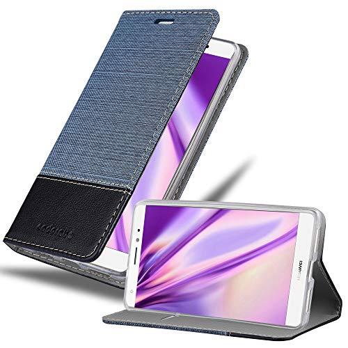 Cadorabo Hülle für Huawei Mate S - Hülle in DUNKEL BLAU SCHWARZ – Handyhülle mit Standfunktion & Kartenfach im Stoff Design - Case Cover Schutzhülle Etui Tasche Book