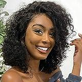 Peluca de cabello humano 100% Pelucas de cabello corto Bob Onda de agua Peluca de cabello humano virgen Remy ondulado Negro Natural Sin tapa de encaje 35.5CM