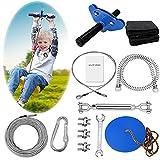 REISIO 98' Zipline Kits for Backyard , Adjustable Zipline Kids for Adult Outdoor Play Playground Entertainment Zip line (Blue)