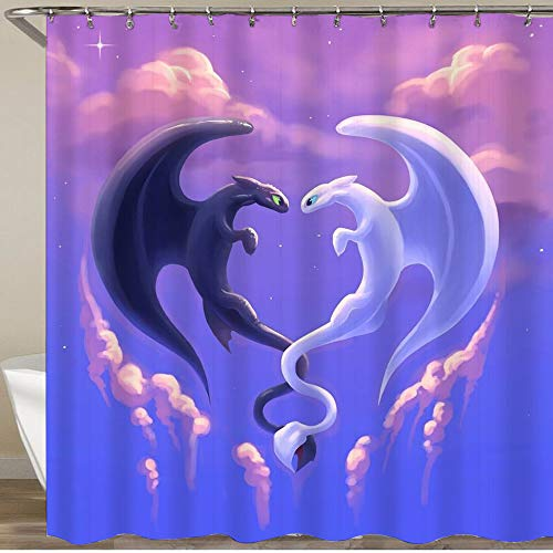 MEJAZING Shower Curtain,How to Train Your Dragon 5,Polyester Fabric Waterproof Bath Curtains Hooks Included - 72 x 72 inches