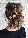 Anglacesmade - Horquillas para el pelo para novias, de hoja de oro y plata, horquilla en forma de rama, accesorios para el cabello de dama de honor, para mujeres y niñas