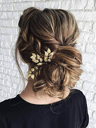 Anglacesmade, forcine per capelli da sposa, con foglie, dorate e argentate, ideali come accessori per capelli per damigella d'onore, donne e ragazze