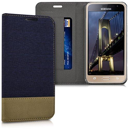 kwmobile Funda Compatible con Samsung Galaxy J3 (2016) DUOS-Carcasa de Tela y Cuero sintético con Soporte en Azul Oscuro/marrón