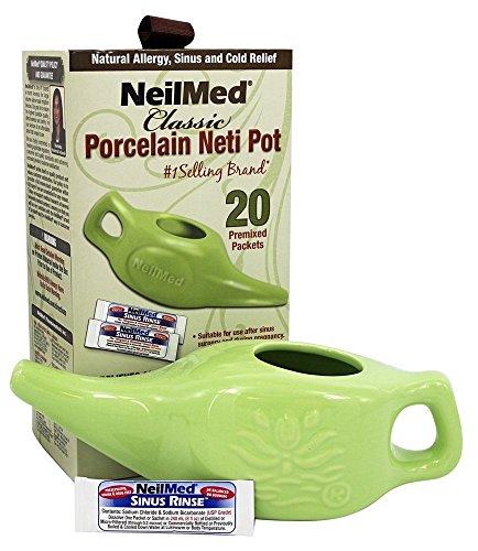 NeilMed Pharmaceuticals - Classic Porcelain Neti Pot with 20 Premixed Packets - 240 ml.