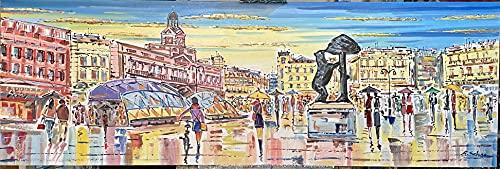Bonito Cuadro de Madrid pintado a mano, obra original. 150x50cm