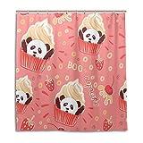 BKEOY Duschvorhang Niedlicher Panda Cupcake Badvorhang Wasserdicht Schimmelfest Waschbar Polyester Stoff Vorhang 167x182cm mit 12 Vorhanghaken