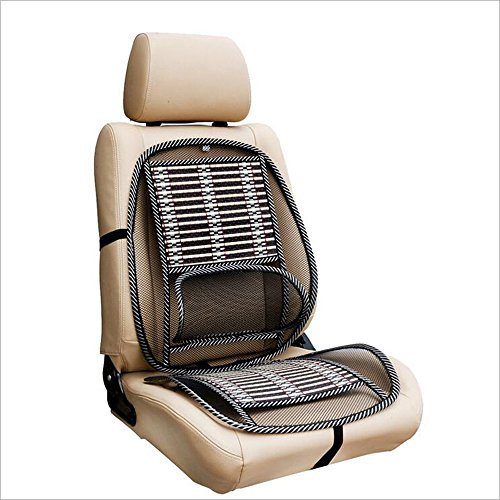 HomDSim Car Seat Office Chair Bamboo Chip Cover Cushion with Wire Mesh Lumbar Back Support,Breathable Cool Black Mesh with Strap Comfortable Ventilate Support Cushion Pad for All Types Car Seats