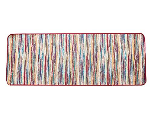 Tappeto Antiscivolo Cucina, Passatoia Cucina 55x140 cm, Lavabile in Lavatrice, Motivo Multicolore Tonalità Rosse