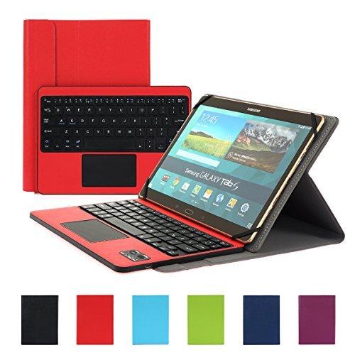 Besmall Bluetooth Tastatur mit Touchpad Deutsch Layout QWERTZ mit PU Leder Schutz Hülle mit Standfunktion für 10 Zoll Tablet (9,6/ 9,7/ 10,1 Bildschirm) Rot