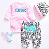 Reborn Baby Dolls Clothes Pink Outfits for 20'- 22' Reborn Doll Girl Baby Clothing Baby Sets