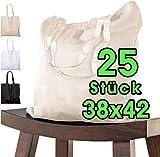 25 bolsas de algodón sin impresión 38 x 42 cm – Asa cruzada – OEKO-TEX bolsa de tela, bolsa de transporte, bolsa de yute bolsa de la compra bolsa de tela ecológica Öko-Tex  140 g/m de grosor