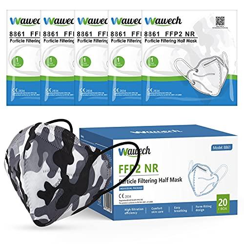 Wawech 20 FFP2 Maske Tarnfarbe Mund und Nasenschutz CE zertififizierte Einwegmasken,hohe Filteration, bequem, atmungsaktiv
