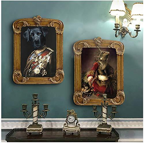 NIEMENGZHEN Druck auf Leinwand Vintage Poster Wandkunst Hund Retro Nostalgie Gentleman Ölgemälde Animal Print Leinwandbild Wohnzimmer Wohnkultur Leinwand print-50x70cm Kein Rahmen