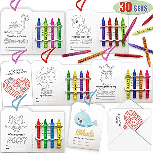 Kiddokids 30 Valentines Day Gift Cards 4-in-1 Bookmark w/Crayons for for Valentine's Classroom Exchange Valentine Prizes Party Favors