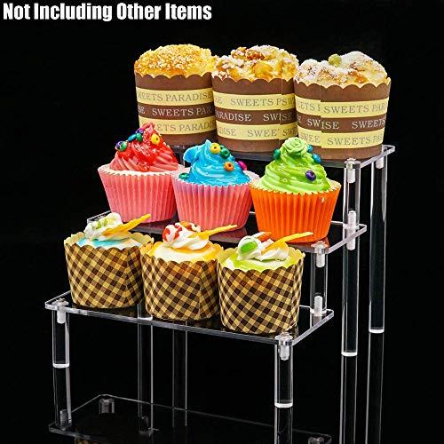 Tingacraft 3 Schritt Klare Acryl Display Riser (20x20x15cm) für Fugurines Kosmetik Dessert
