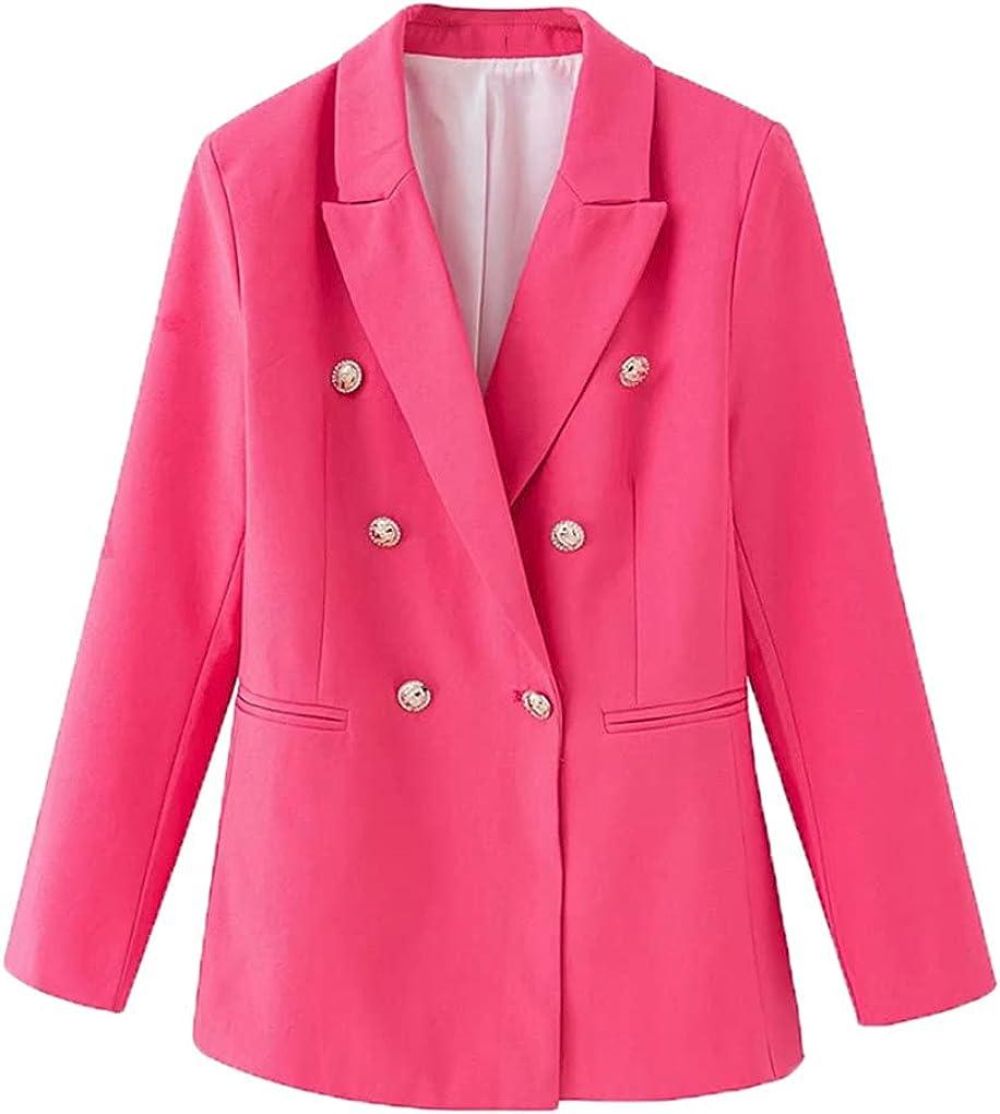 Elegant Women Button Blazer Office Women Pocket Jackets Casual Female Slim Notched Suits Solid Pink Girls Sets