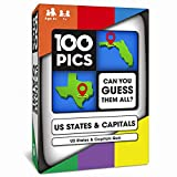 100 PICS US States & Capitals Game - USA Geography Flash Card Quiz | Pocket Puzzle for Adults and Kids Age 6+