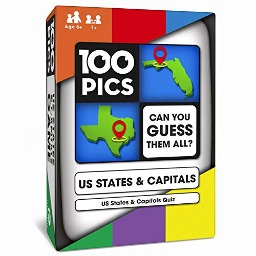 100 PICS US States & Capitals Game - USA Geography Flash Card Quiz   Pocket Puzzle for Adults and Kids Age 6+