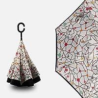 クリエイティブマニュアルカーリバース傘、ハンズフリーC型2層日焼け止め傘レインギア