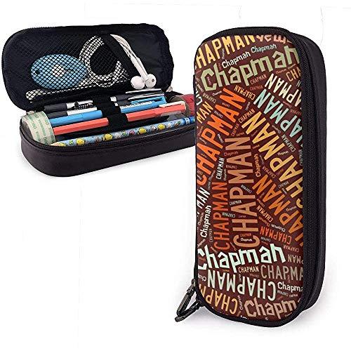 Chapman - American Nachnamen Hochleistungs-Federmäppchen aus Leder Bleistift Stift Schreibwaren Halter Veranstalter Schule Filzstift Student Schreibwaren Tasche