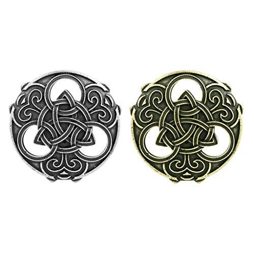 Sharplace Pin de Broche Vikingo de 2 Piezas - Broche de Escudo para Mujer Pin de Solapa Broche de Amuleto Nórdico