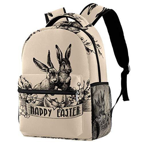 LORVIES Sketch Osterhase Casual Rucksack Schulterrucksack Büchertasche für Schule Studenten Reisetaschen