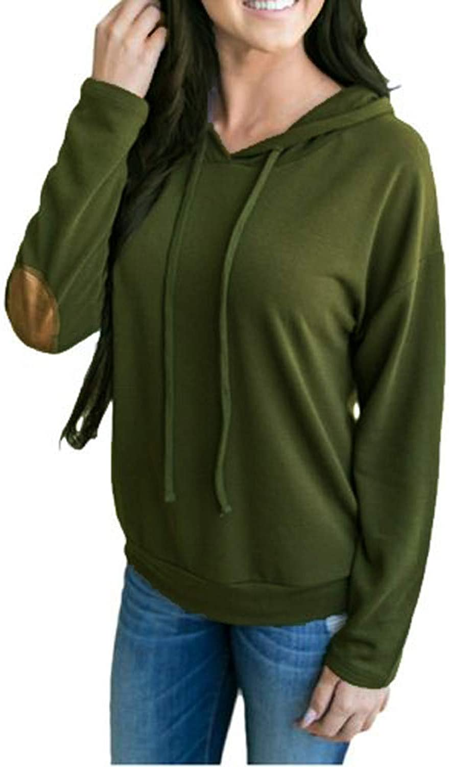 Womens Casual Sweatshirt Hoodies Solid Rope Pulling Pure color Sweatshirt Cloth (color   Army Green, Size   XL)
