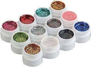 12 colores de la mezcla del polvo del brillo del gel ULTRAVIOLETA del arte del clavo del polaco del gel acrílico Nail Art Decoración Herramientas