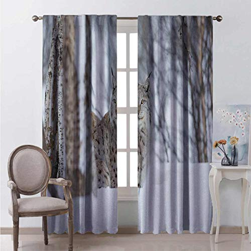 Animal Blackout curtain European Lynx Snowy Cold Forest Norway Nordic Country Wildlife Apex Predator 2 panels W72 x L72 Inch Light Brown White