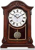 ZhenHe Reloj de mesa Familia relojes de mesa Relojes reloj de la chimenea de la sala Dormitorio de la vendimia sólida de cuarzo decoración del reloj de madera Adornos 23X6X32 Adecuado for salón dormit