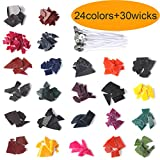 24 Color Candle Wax Dye with 30 Pcs Candle Wicks for DIY Candle Making Supplies