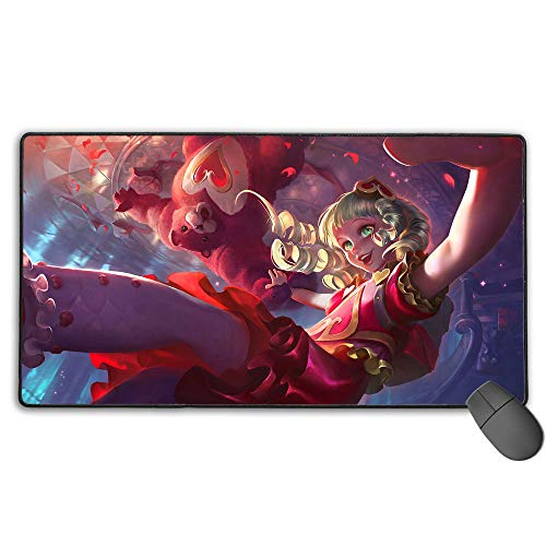 Waterproof Mouse Mat for League Legends Sweetheart Annie, Computer Keyboard Mouse Mat Computer Keyboard Pad Mat for PC Computer Laptop 15.8x35.5 in(40cm X 90cm)