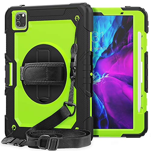 iPad Pro 11 Case 2020 for Kids| SIBEITU iPad Pro 11 Case 2nd Gen/ 1st Gen 2018 with Pencil Holder Screen Protector Shockproof Heavy Duty | Hard Rugged Protective Cover w/Stand Handle | Green